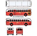 GMC TD 3610 Transit Bus - Assembled - Mini Metals(R) -- Pacific Electric Railway (red, orange, gray, Santa Monica Destination) - HO-Scale