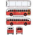 GMC TD 3610 Transit Bus - Assembled - Mini Metals(R) -- Pacific Electric Railway (red, orange, gray, Los Angeles Destination) - HO-Scale
