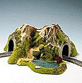 Single Track Curved Tunnel w/Lake -- N Scale Model Railroad Tunnel -- #34660