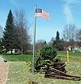 U.S. Flag + Pole 3 pack (wooden kit) -- HO Scale Model Railroad Trackside Accessory -- #1094