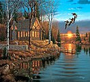 Rest Stop (Geese/Cabin/Lake Scene)(16''x20'') -- Paint By Number Kit -- #13389
