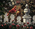 Emily's Garden (Cardinals on Fence)(16''x20'') -- Paint By Number Kit -- #13390