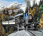Autumn Express (Stream Locomotive/Mountain Scene)(16''x20'') -- Paint By Number Kit -- #13392