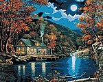 Lakeside Cabin (16''x20'') -- Paint By Number Kit -- #21690