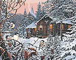 Enchanted Woods in Winter (Cabin Scene) Paint by Number (20''x16'')