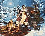 Santa's List (Sitting at Campfire/Animals Christmas/Snow Scene) -- Paint By Number Kit -- #59774