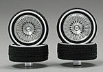 Chrome DZ's w/Whitewall Tire (4) -- Plastic Model Tire Wheel -- 1/24 Scale -- #1109