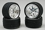 Daggars Chrome Rim/Tires (4) -- Plastic Model Tire Wheel -- 1/24 Scale -- #1226