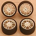 Chrome M5's Rims w/Tires (4) -- Plastic Model Tire Wheel -- 1/24 Scale -- #1281