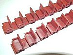 Red Coach Seats for Passenger Cars (72) -- HO Scale Model Railroad Scratch Supply -- #4102