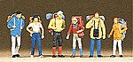 Recreation & Sports Hikers (6) -- Model Railroad Figures -- HO Scale -- #10113