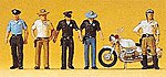 USA Police & Motorcycle 5 Officers, 1 Motorcycle -- Model Railroad Figures -- HO Scale -- #10370
