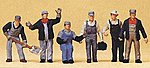 US Railroad Transition Era Freight Train Crew (6) -- Model Railroad Figures -- HO Scale -- #10453