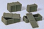 Military Wooden Supply Crates -- Model Railroad Building Accessory -- HO Scale -- #18350