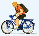 Bicycle Courier with Bike -- Model Railroad Figure -- HO Scale -- #28175