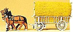 Horse-Drawn Hay Wagon with Driver & Load -- HO Scale Model Railroad Vehicle -- #30477
