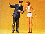Girl & Station Clerk -- Model Railroad Figures -- G Scale -- #45001