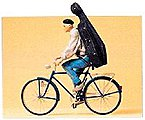 Music Student on a Bicycle -- Model Railroad Figures -- G Scale -- #45070