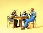 3 Men Seated At Table Playing Cards -- Model Railroad Figures -- G Scale -- #45141