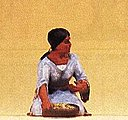 Native American Kneeling Woman with Bowl -- Model Railroad Figure -- 1/25 Scale -- #54615