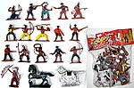 1/32 Cowboys & Indians Figure Playset #1 (16 w/Weapons & 2 Horses) (Bagged)