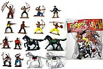 1/32 Cowboys & Indians Figure Playset #2 (12 w/Weapons & 4 Horses) (Bagged)