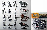 1/32 French Infantry Figure Playset (12 w/4 Horses) (Bagged)