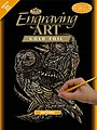 Gold Foil Engraving Art Owls -- Scratch Art Metal Art Kit -- #golf13