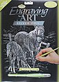 Silver Foil Engraving Art Mare & Foal -- Scratch Art Metal Art Kit -- #silf15
