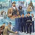 German Navy Figures -- Plastic Model Military Figure Kit -- 1/72 Scale -- #02525