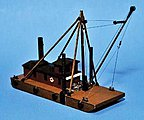 Derrick/Spud Barge w/Timber Stiff Leg Derrick -- N Scale Model Vehicle -- #h122n