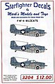 F4F4 Wildcats for Trumpeter & Revell -- Plastic Model Aircraft Decal -- 1/32 Scale -- #3204