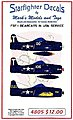 F8F1 Bearcats in USN Service -- Plastic Model Aircraft Decal -- 1/48 Scale -- #4805