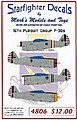 P36s 16th Pursuit Group -- Plastic Model Aircraft Decal -- 1/48 Scale -- #4806