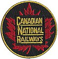 Canadian National (Maple Leaf, Red, Green, Yellow) 2'' Diameter -- Cloth Railroad Patch -- #75015