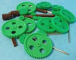 Assorted Large Plastic Motor Gears & Metal Shafts (27pcs)