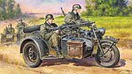 German Motorcycle and Sidecar WWII -- Plastic Model Motorcycle Kit -- 1/48 Scale -- #32578