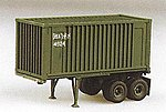 2-Axle 20' Chassis w/Box Container Green -- HO Scale Model Railroad Vehicle -- #90079