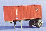 20' Single Axle Container Chassis w/20' Container -- HO Scale Model Railroad Vehicle -- #90181