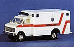 Chevrolet G.G.D. Ambulance White & Red Stripe -- HO Scale Model Railroad Vehicle -- #90182