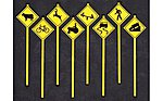 Picture Warning Signs (8) -- O Scale Model Railroad Roadway Signs -- #2076