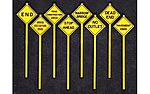 Written Warning Signs (8) -- O Scale Model Railroad Roadway Signs -- #2077