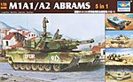 M1A1/A2 Tank (5 in 1) -- Plastic Model Military Vehicle Kit -- 1/35 Scale -- #01535