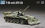 Russian T55 Tank with BTU55 Dozer Plow -- Plastic Model Military Vehicle -- 1/72 Scale -- #07284