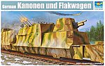WWII German Kanonen & Flakwagen Anti-Aircraft Railcar -- Plastic Model Kit -- 1/35 Scale -- #1511