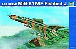 Mig21 MF Fishbed J Single-Seat Tactical Fighter -- Plastic Model Airplane Kit -- 1/32 Scale -- #2218