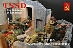 WWII Russian Infantry Figure Playset (16) -- Plastic Model Military Figure -- 1/32 Scale -- #5