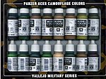 Camouflage Panzer Aces Paint Set (16 Colors) -- Hobby and Model Paint Set -- #70179