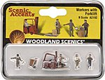 Workers With Forklift -- N Scale Model Railroad Figure -- #a2192