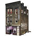 Betty's Burning Building -- HO Scale Model Railroad Building -- #br5051